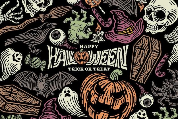 Coleção de conjunto de ilustração de halloween para modelo de celebração e decoração