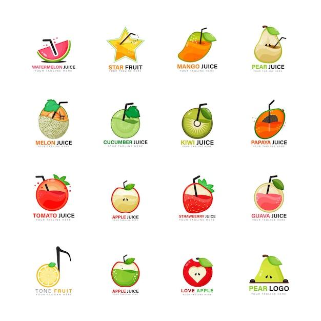 Coleção de conjunto de logotipo de design de frutas