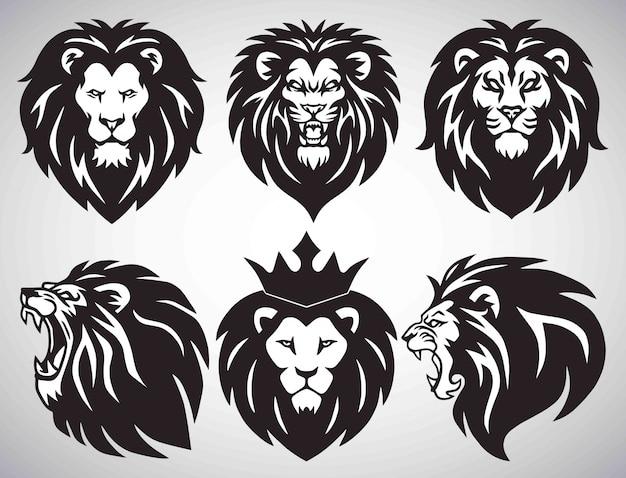 Coleção de conjunto de logotipo de leão.