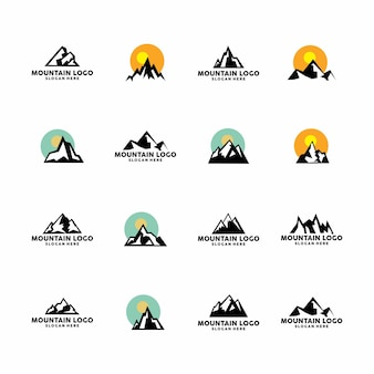 Coleção de conjunto de logotipo de montanha
