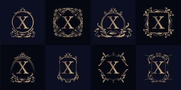 Coleção de conjunto de logotipo x inicial de quadro de ornamento de luxo.