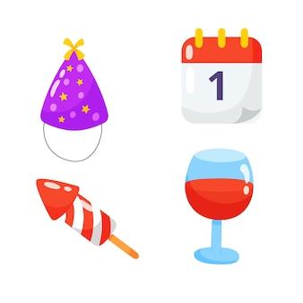 Coleção de conjunto de mão desenhada de ícone plana de festa.