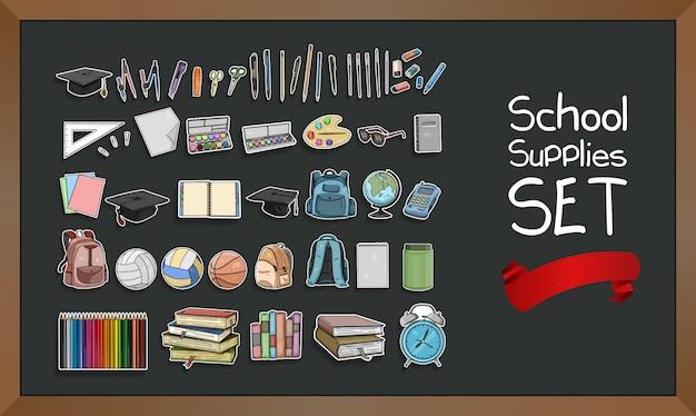Coleção de conjunto de material escolar