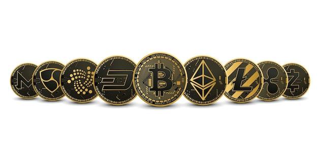 Coleção de conjunto de ouro de criptomoedas