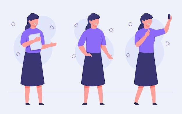 Coleção de conjunto de personagens femininos segurando papel, sorriso, conversa, selfi use a câmera do smartphone com design de vetor estilo cartoon plana
