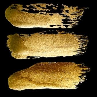 Coleção de conjunto de pintura com pincelada dourada feita à mão