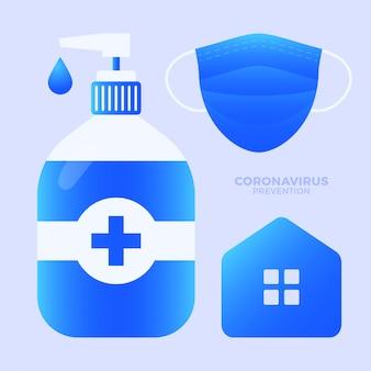 Coleção de conjunto de proteção contra coronavírus. fique em casa, use máscara facial, desinfetante para as mãos. prevenção