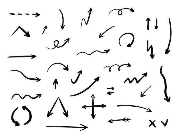 Coleção de conjunto de seta de vetor de mão desenhada. ilustração isolada no fundo branco.
