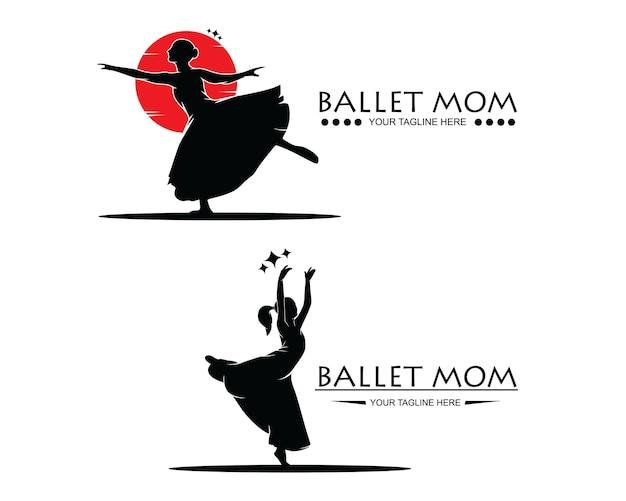 Coleção de conjunto de silhueta de logotipo de balé de vetor de mamãe
