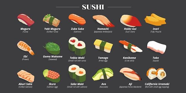 Coleção de conjunto de sushi