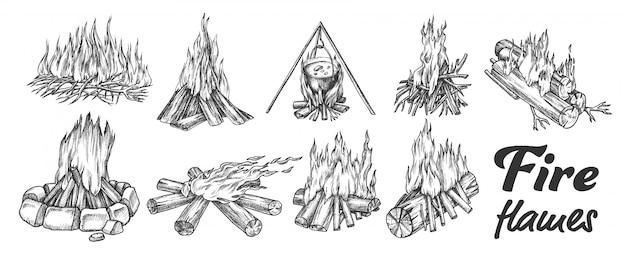 Coleção de conjunto de tinta diferente da fogueira