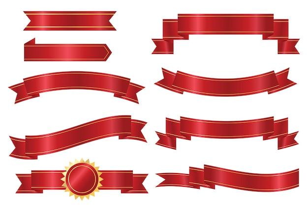 Coleção de conjunto de vetores de fita vermelha brilhante