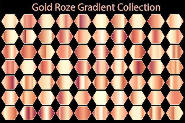 Coleção de conjunto gradiente rosa dourado de textura metálica