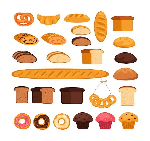 Coleção de conjunto isolado de massa de padaria de pão