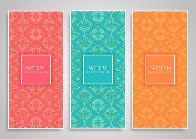Coleção de conjunto padrão decorativo sem emenda