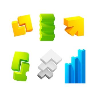 Coleção de conjuntos 3d realistas com seis setas coloridas diferentes no branco