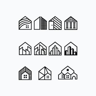 Coleção de conjuntos arquitetônicos de edifícios e casas modernas
