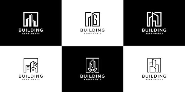 Coleção de conjuntos de arquitetura de construção, logotipo imobiliário
