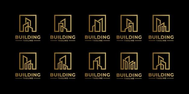Coleção de conjuntos de arquitetura de edifícios, símbolos de design de logotipo de imóveis