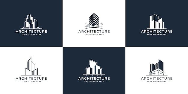 Coleção de conjuntos de arquitetura de edifícios