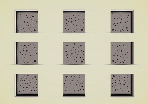 Coleção de conjuntos de azulejos de pedras