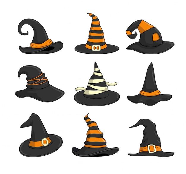 Coleção de conjuntos de desenhos animados de halloween com chapéu de bruxa