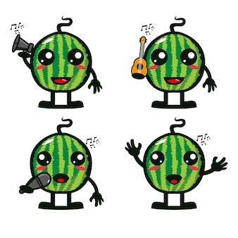 Coleção de conjuntos de melancia segurando instrumentos musicais ilustração em vetor estilo simples desenho animado