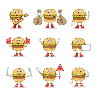 Coleção de conjuntos de personagens de mascote de desenhos animados burger