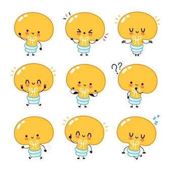 Coleção de conjuntos de personagens fofinhos engraçados lâmpada