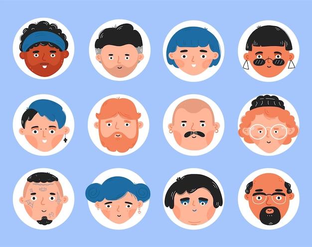Coleção de conjuntos de rosto de pessoas diferentes