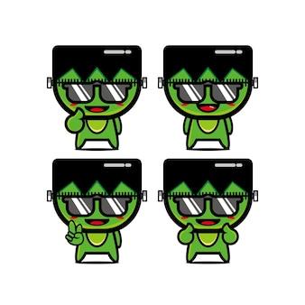 Coleção de conjuntos de zumbis fofos de verão ilustração em vetor de mascote de personagem de desenho animado plana