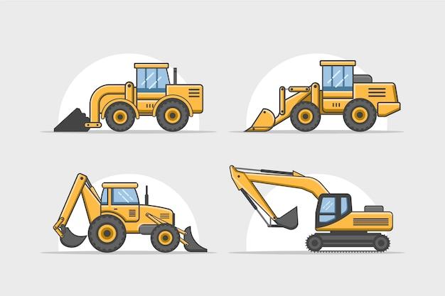 Coleção de construção de escavadeira