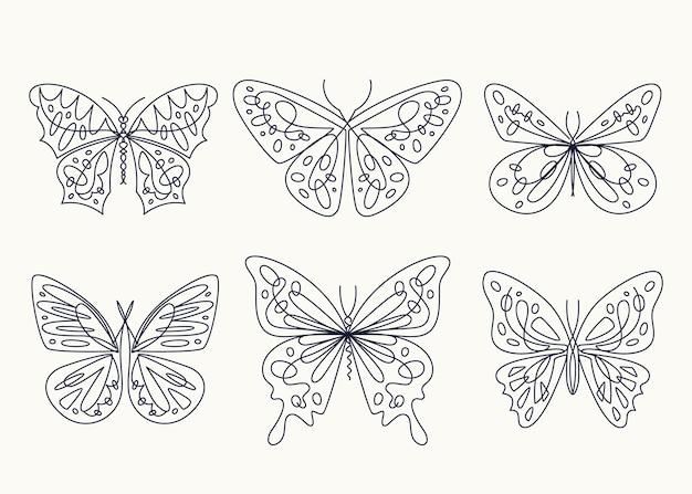 Coleção de contorno linear de borboleta plana
