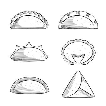 Coleção de contorno preto e branco de empanada