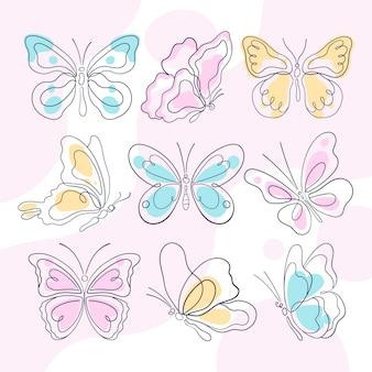 Coleção de contornos de borboletas desenhados à mão