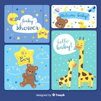 Coleção de convite de cartão de chuveiro de bebê
