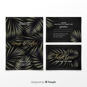 Coleção de convite de casamento elegante com folhas tropicais