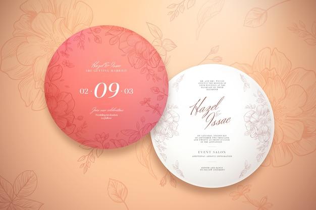 Coleção de convite de casamento redondo elegante