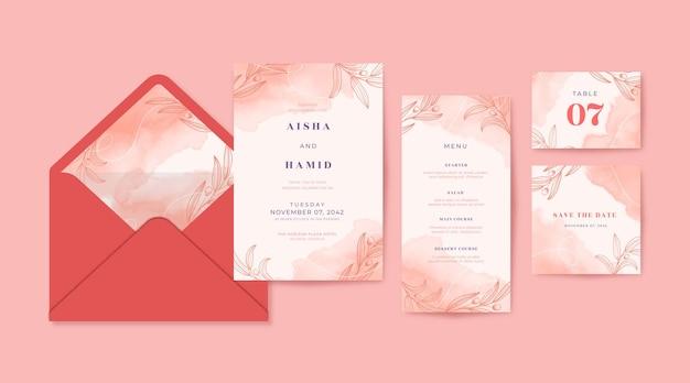 Coleção de convites de casamento com aquarela rosa linda