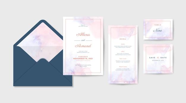 Coleção de convites de casamento com bela textura em aquarela