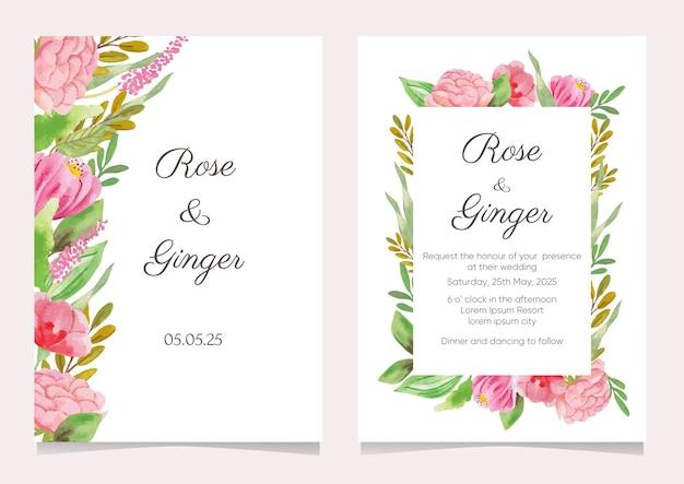 Coleção de convites de casamento em aquarela de flores rosa
