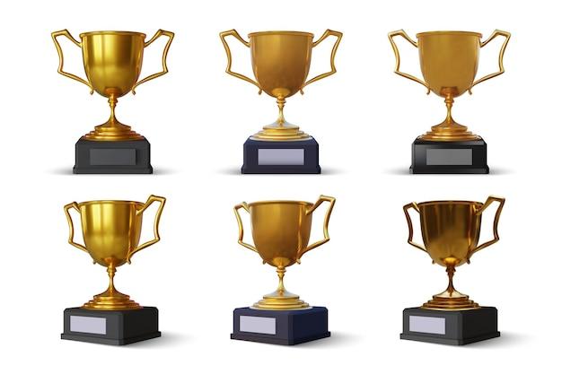 Coleção de copa esporte dourada isolada no branco