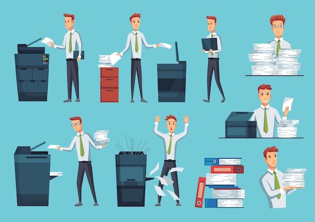 Coleção de copiadoras de documentos de escritório.