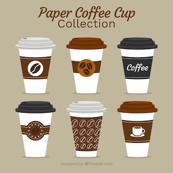 Coleção de copo de café de papel plano