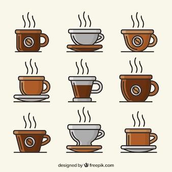 Coleção de copo de café marrom