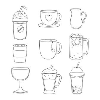 Coleção de copos de bebida de doodle desenhado à mão