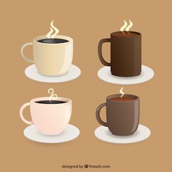 Coleção de copos de café com vapor