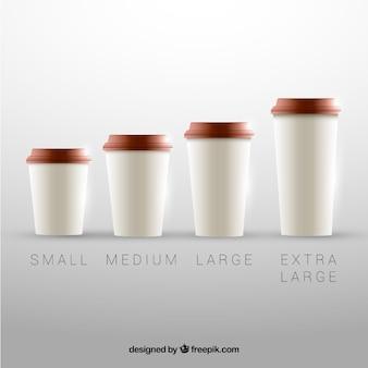 Coleção de copos de café de diferentes tamanhos