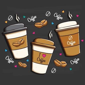 Coleção de copos de café descartáveis com decoração bonito
