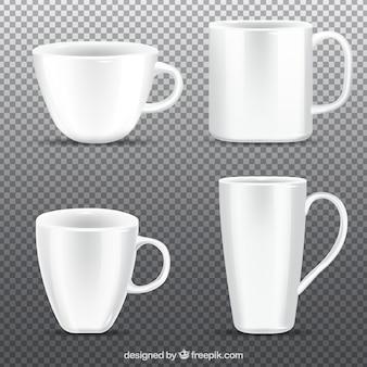 Coleção de copos de café em estilo realista